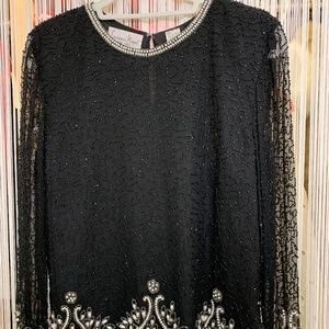 Vintage Laurence Kazar Silk Beaded Blouse